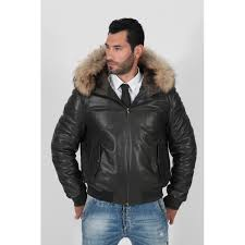 men s black padded and quilted fox fur hood lined real er jacket