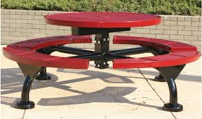 Round outdoor metal table Outdoor Dining Millennium Round Coated Metal Picnic Tables Click To Zoom Treetop Products Millennium Round Coated Metal Picnic Tables Treetop Products