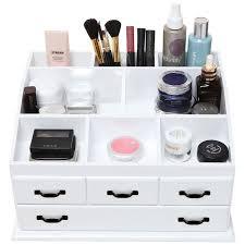 cosmetic organiser drawers wooden 4 drawer jewellery cosmetic makeup storage display table