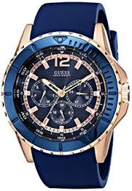 guess men s blue silicone strap watch 46mm u0247g3 cases metals guess men s u0485g1 comfortable rose gold tone blue silicone multi function watch guess