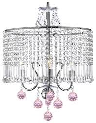 contemporary 3 light crystal chandelier with crystal shade and pink crystal ball