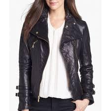 asymmetrical black leather moto jacket