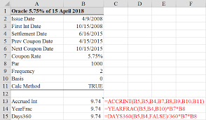 Interest Calculation Spreadsheet Calculate Accrued Interest On A Bond In Excel 3 Ways Tvmcalcs Com