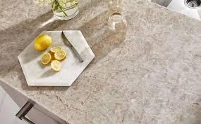 silver gray quartzite countertops with lemons