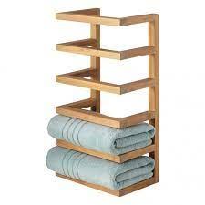 teak hanging towel rack bathroom