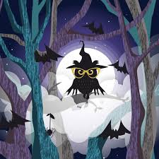 <b>Black owl</b> on the <b>tree</b> background of the full moon Vector | Premium ...
