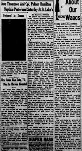 June Thompson and Palmer Hamilton's Wedding June 1943? - Newspapers.com