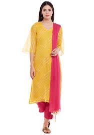 Kota Doria Suits Designs Leheriya Printed Kota Doria Pakistani Suit In Yellow
