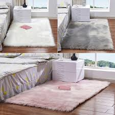 details about fluffy white grey pink faux sheepskin rug extra large fur floor carpet rugs mat
