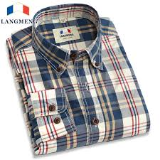 <b>Langmeng</b> new 2017 <b>autumn spring mens</b> plaid casual shirts long ...