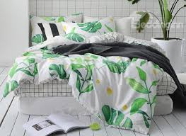 57 full size tropical green leaves printed cotton 4 piece bedding sets duvet cover
