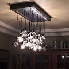 chic hanging chandelier lights hand crafted wood and metal hanging bulb chandelier light fixture