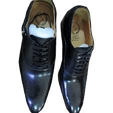 men s slip on faux leather shoes black