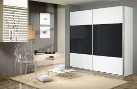 rauch quadra 2 door glass sliding wardrobe in alpine white and basalt w 226cm