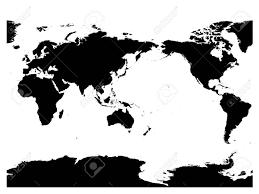Australië En De Oceaan Gecentreerde Wereldkaart Hoog Detail Zwart