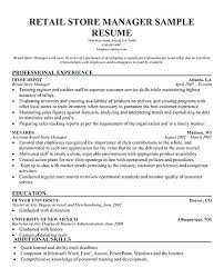 Sample Resume For Retail Manager Best Retail Manager Resume Retail Store Manager Resume Skills Datainfo
