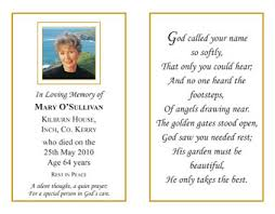 Funeral Remembrance Cards Memoriam Cards Kennedy Printers Bantry Ireland Memoriam
