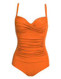Ekouaer Womens One Piece Swimsuits Elegant Inspired Vintage Pin Up Monokinis Tummy Control Swimwear Shirred Bathing Suits Orange X Small