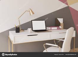red black home office. Black, Red, Yellow And White Geometric Wall Pattern Home Office With A Wooden Floor, Square Poster, Laptop Chair Near Computer Table. Red Black