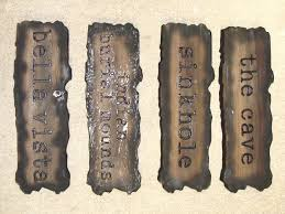 g16364 carved wood signs with burn out antique look for cave sinkhole bella vista and indian burial grounds