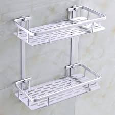 wall mounted bathroom shelves fashion dual tier bathroom corner shelf basket aluminum alloy kitchen bathroom wall
