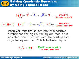 positive square root of 9 negative square root of 9