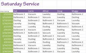 Chores Saturday Service House Chore Schedule Template