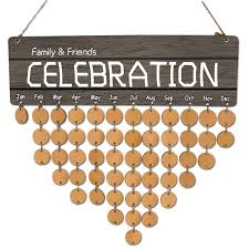 family and friends celebration wooden diy calendar reminder board