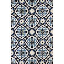 8 x 10 large mosaic medallion navy blue outdoor rug atrium