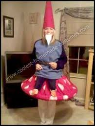 homemade yard gnome on a toadstool costume i saw a young about six years
