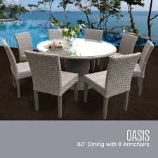 grey stone oasis 60 inch outdoor patio dining table with 8 armless chairs