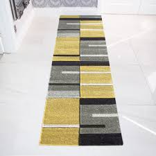 modern rug runners for hallways yellow grey contemporary patchwork hall runner
