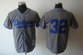 32 Mitchell Baseball And Koufax Throwback Stitched Sandy Grey Ness Dodgers Jersey