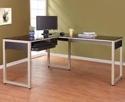 stylish office desk setup. Stylish Glass L Shaped Computer Desk Office Setup