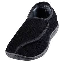 Mens Bedroom Slippers Wide Mens Dunlop Velcro Fastening Adjustable Comfort Slippers Sizes 6