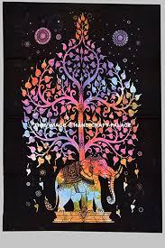 indian cotton elephant tree wall art