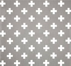 Small Picture Grey White Cross Cotton Fabric by the Yard Designer