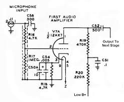 the johnson viking ranger first audio amplifier circuit schematic back to the johnson viking ranger schematic diagrams and circuit descriptions page