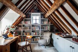 wooden home office. Farmhouse Home Office With Ceiling Wooden Beams And Spacious Shelving  [From: Anna Wilson Interiors] E