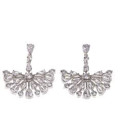 absolute cz sterling silver pear and round chandelier earrings