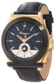 salvatore ferragamo men s f62ldt5095 s497 1898 gold ion plated ferragamo men%27s f62ldt5213 s009 1898 rose gold plated dual time black genuine leather watch