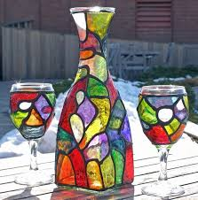 art funky organic stained glass painted wine decanter 2 glasses set by artist diane