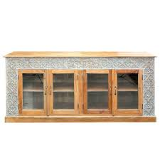 details about made to order 4 door carved solid wood sideboard glass natural whitewash tone