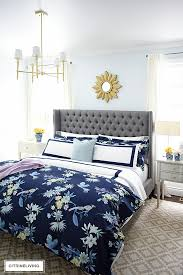 classic white navy hotel chic bedding is so gorgeous paired with this navy chinoiserie duvet