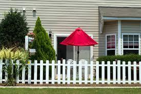 vinyl picket fence front yard. Backyard Vinyl Fence With Red Umbrella Picket Front Yard