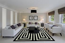 Modern living room design in black and white , floor rug with meander  pattern