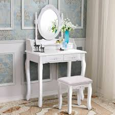 white vanity wood makeup dressing table stool set bathroom with mirror 4drawers