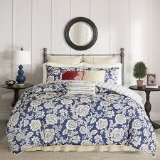 madison park georgia navy cotton twill reversible 9 piece duvet cover set