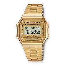 amazon com casio a168wg 9 men s vintage gold metal band casio a168wg 9 men s vintage gold metal band illuminator chronograph alarm watch