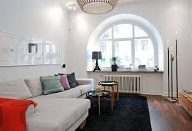 sleek living room with arch window